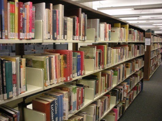 The cookbook aisles at the GBC library