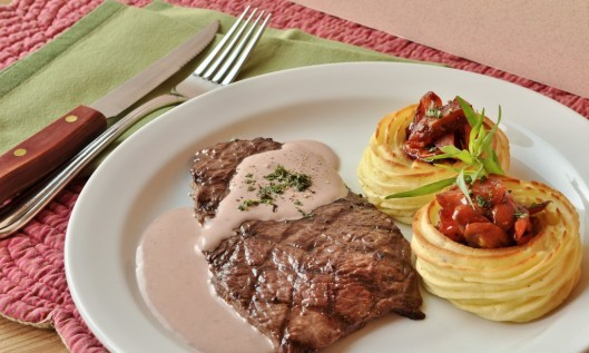 Grilled Steaks with Marquise Potatoes and Red Wine Cream Sauce