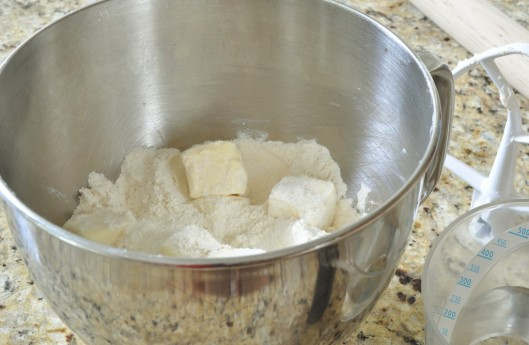Toss the butter chunks in the flour