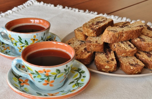 A Platter of Oatmeal-Chocolate Chunk Biscotti