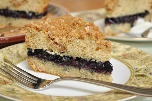 A Slice of Oat Streusel Coffecake with Blueberry-Wine Filling