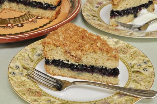 Brown Butter Cake with Oat Streusel and Blueberry-Wine Filling