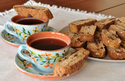 Eggless Chocolate Chunk Biscotti