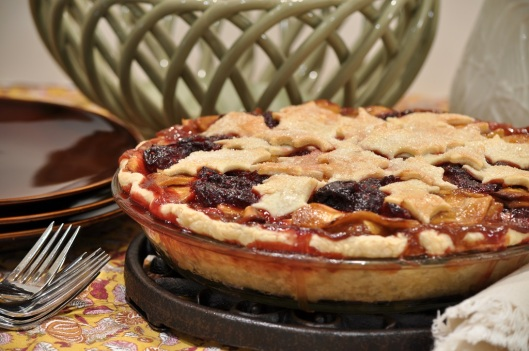 Caramel Apple-Cranberry-Cherry Pie