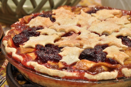Caramel Apple Pie with Cranberry-Cherry Compote