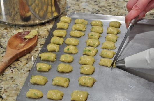 Piping the dumplings