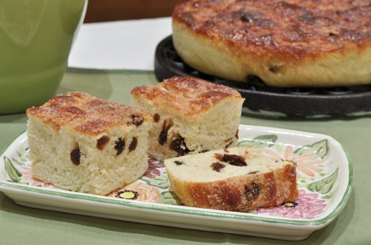 Squares of Cinnamon Raisin Focaccia