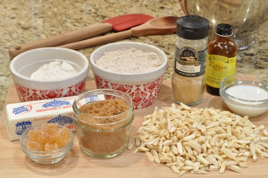 Ingredients for Ginger Almond Biscuits