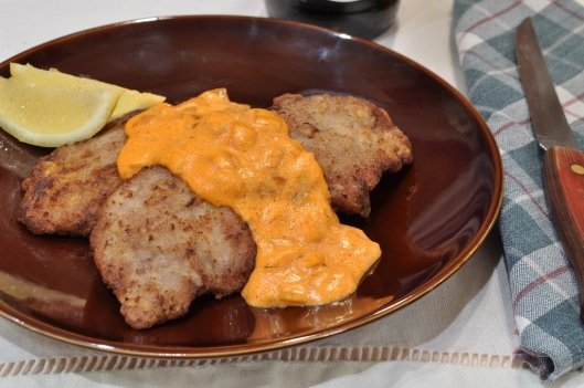 Schnitzle with Paprika-Sour Cream Sauce