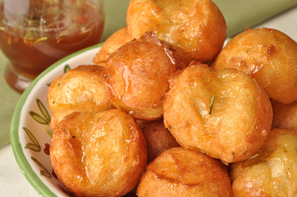 Honey Drenched Zeppole With Lime And Rosemary