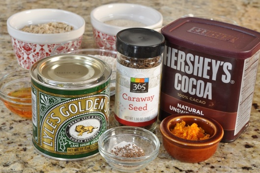 Ingredients for Caraway-Cocoa Oat Crisps