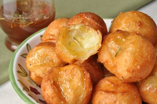 Zeppole with Lime and Rosemary-Infused Honey
