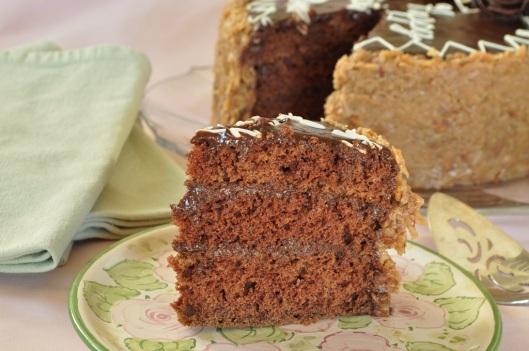 A Slice of Eggless German Chocolate Cake