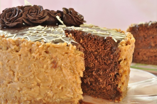 Eggless German Chocolate Cake with Coconut-Pecan and Fudge Frostings