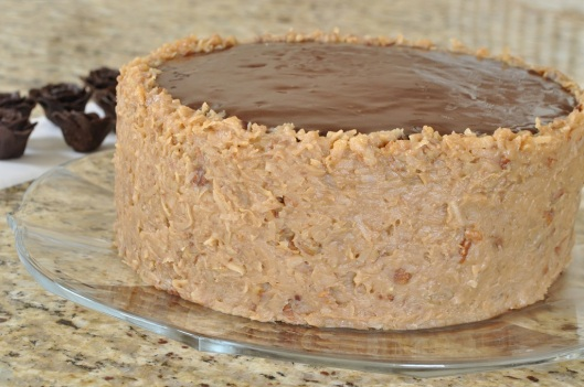 German Chocolate Cake frosted and ready for decoration