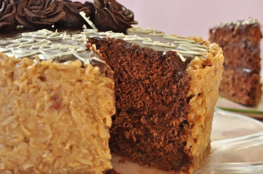 German Chocolate Cake with Fudge and Coconut-Pecan Frosting