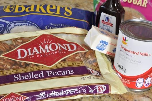 Ingredients for Coconut-Pecan Frosting