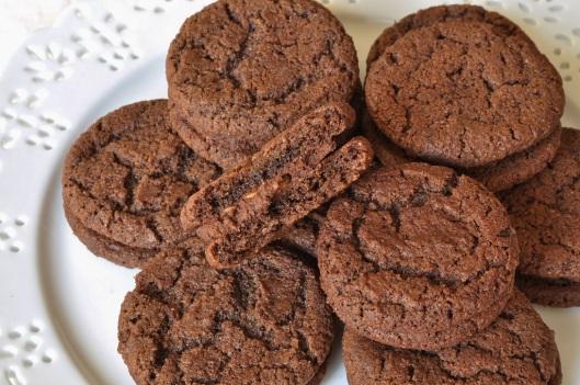 Chocolate-Malt Sandwich Cookie with Rice Crispy Ganache