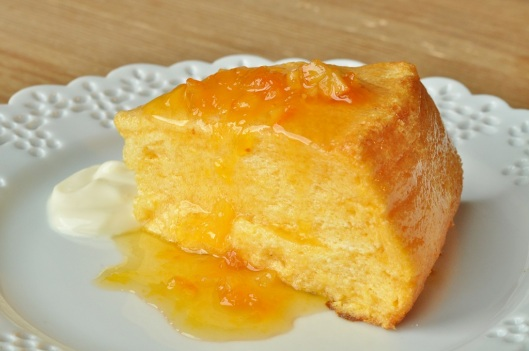 Souffle Cake with Dried Apricot Sauce