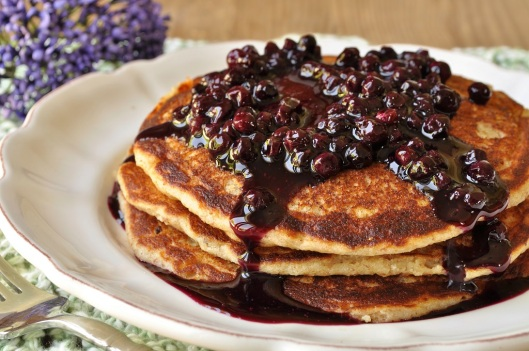 Almond-Spelt Pancakes with Wild Blueberry Sauce