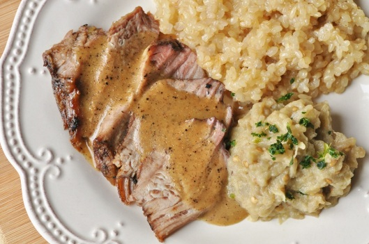 Roast Lamb with Tahini-Eggplant Puree
