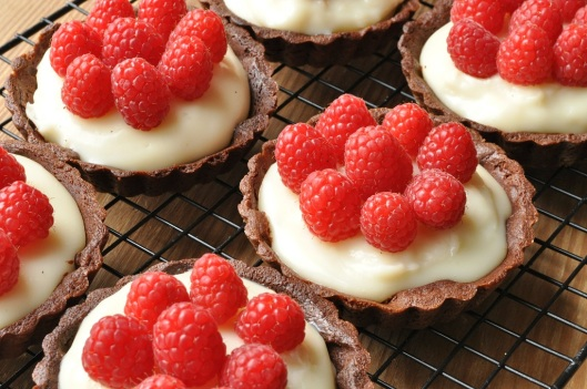 Chocolate-Cointreau Tarts with Fresh Raspberries