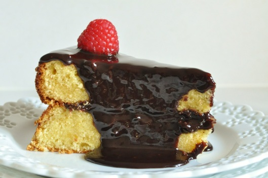 A Slice of White Chocolate Butter Cake with Hot Fudge Glaze