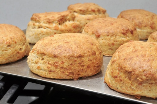 A Tray of Cheddar-Sage Biscuits