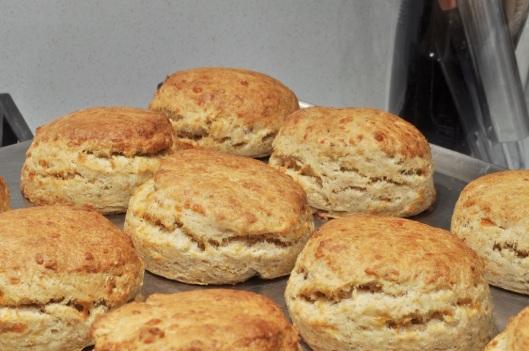 Freshly baked cheddar-sage biscuits