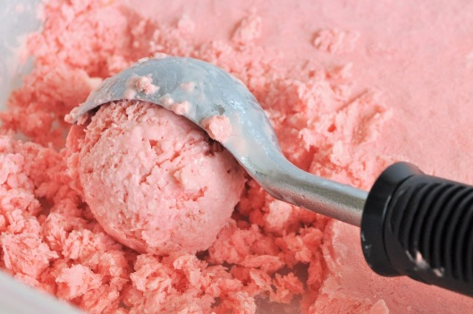 Scooping the Strawberry-Honey Ice