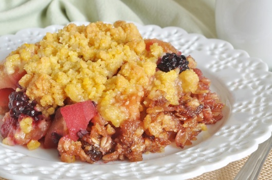 Apple-Blackberry Crumble with Flapjack Base and Orange Crumb Topping