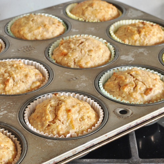 A Tray of Oat-Pecan Marmalade Muffins