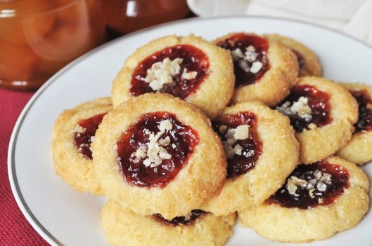 Ginger and Strawberry Jam Shortbread Thumbprint Cookies