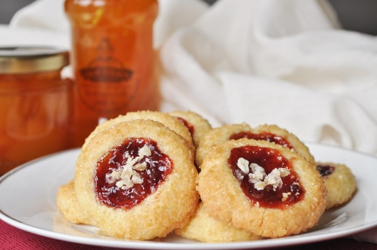 Shortbread Thumbprints with Ginger and Strawberry Jam