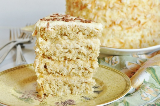 A Slice of Coconut-White Chocolate Layer Cake