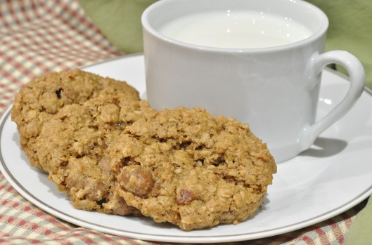 Chocolate-Covered Raisin Oatmeal Cookies