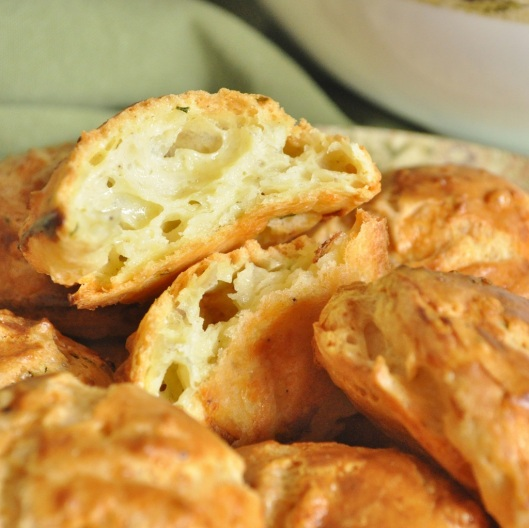 Gougeres Oozing with Cheese