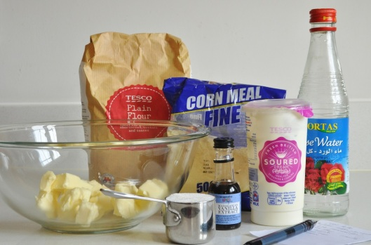 Ingredients for Cornmeal-Rose Shortbreads