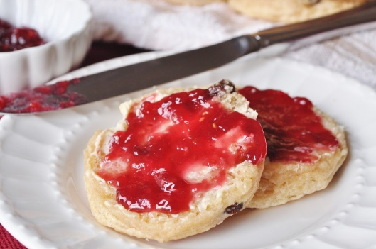 Raisin Girdle Scone with Butter and Jam