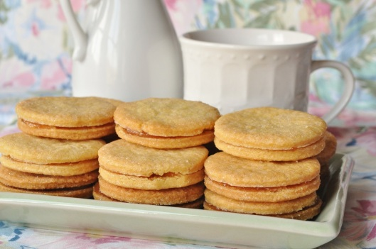 Rose-Cornmeal Shortbread Sandwich Cookies