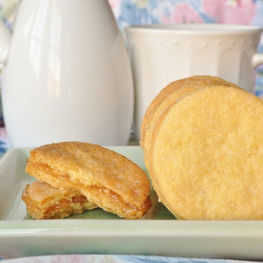 Rose-Cornmeal Shortbread with Pear Conserve