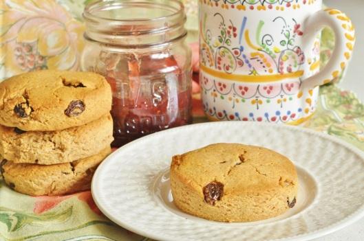 Peanut Butter-Spelt Scones with Raisins